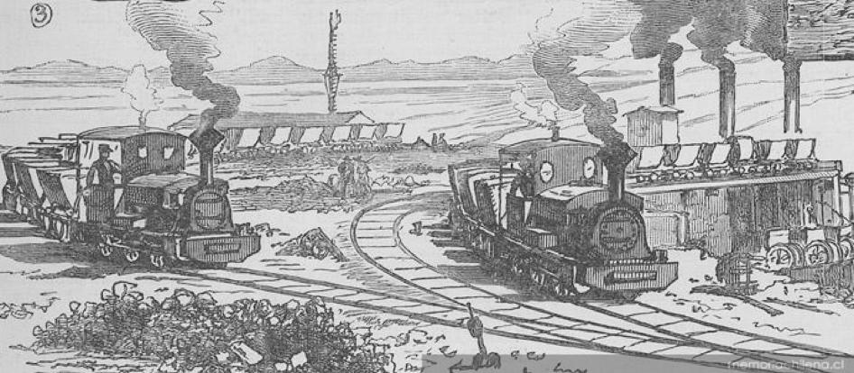 Vagones y trenes llegando al campamento, hacia 1889